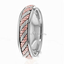 SOLID 14K WHITE GOLD AND ROSE GOLD HAND BRAIDED WEDDING BAND MENS AND WOMENS