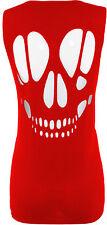 New Womens Plus Size Back Skull Laser Cut Open Vest Tops Baggy Vests 16-26