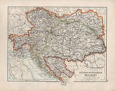 1909 VICTORIAN MAP ~ AUSTRO-HUNGARIAN MONARCHY ~ BOSNIA HUNGARY TYROL BOHEMIA