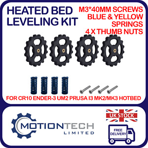 Heated Bed Leveling Kit M3*40mm bolts 25mm Springs 4 Pack 3D Printer Cr10 Ender