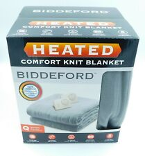 NEW Biddeford Comfort Knit Heated Blanket Queen Grey Q Gray Analog Controller