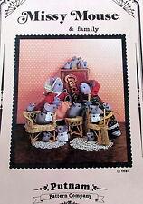 "Vtg 80s Craft pattern Missy Mouse Putnam Co baby mice 1.5"" & 11"" mom"