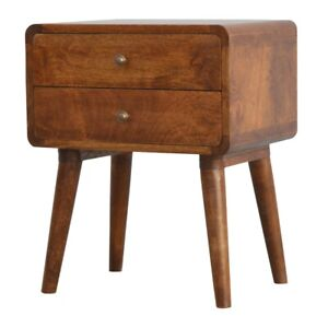 2 x Curved 2 Drawer Solid Mango Wood Bedside Tables with Chestnut Finish.