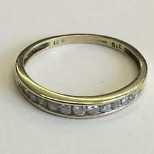 Modern Design Solid 9ct Gold Diamond Half Eternity Ring Size M