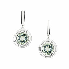Genuine Natural Green Amethyst 925 Solid Sterling Silver Leverback Earrings