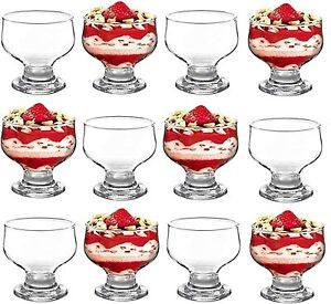 Glass Dessert Bowls Sundae Ice Cream Set Of 12 Short Stemm Prawn Cocktail