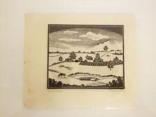 "Rowena Fry Original Print ""Landscape"" c 1940"