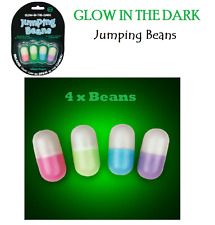 4 x GLOW IN THE DARK JUMPING BEANS Toy Christmas Party Bags Stocking Filler Gift