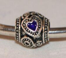 Corazón púrpura amor grano de plata europeo pulsera con dijes de esmalte