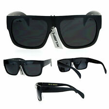 Mens Gangster All Black Flat Top Mafia Hard Sunglasses