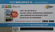 WPS Office 10 Annual License 1 PC 1 Year Key Card -  NEW