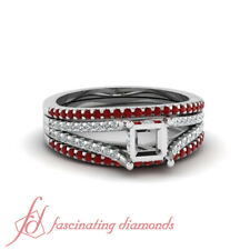 Ruby Rings - Create Your Own Ring-Platinum Semi Mount Colored Stones Settings
