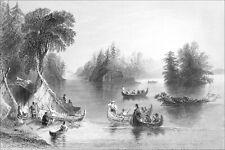 CANADA (QUÉBEC)- CAMP INDIEN sur les RIVES du SAINT-LAURENT - Gravure 19e siècle