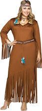 Indian Summer Adult Plus Costume Pocahontas Sacagawea Suede Native Dress