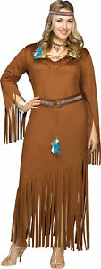 Indian Summer Adult Plus Costume Pocahontas Sacagawea Suede Native Dress