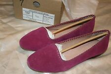 Lands End Vanessa Whipstitch Venetian Wild Orchid Flat Suede Shoes Size 7 M