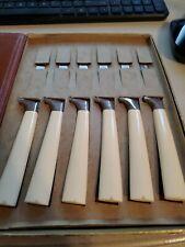 Vtg  6 pc Carvel Hall Stainless Steak Table Knives Chrome Bone Handles