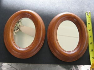 """2 OAK ACCENT MIRRORS USA MADE MILLCRAFT PRODUCTS 7"""" X 5"""" GLASS 5"""" X 3.5"""""""