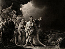 CANUTE REPROVING HIS COURTIERS 1847 Francis Holl - Robert Edge Pine ENGRAVING