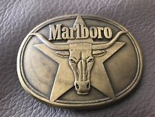 1987 Marlboro Cigarettes Bull Star Solid Brass Belt Buckle Philip Moris Inc. *