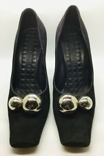 LOUIS VUITTON Black Suede Size 38 Silver Ball Heeled Pump Square Toe
