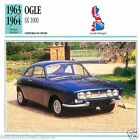 OGLE SX 1000 1963 1964 CAR VOITURE Great Britain GRANDE BRETAGNE CARD FICHE
