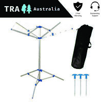 COMPACT SPACE SAVING FOLDING RV CARAVAN CAMPING CLOTHES LINE WITH PEGS & BAG