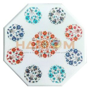 """20"""" White Marble Coffee Table Top Precious Floral Inlaid Bedroom Decorative W577"""
