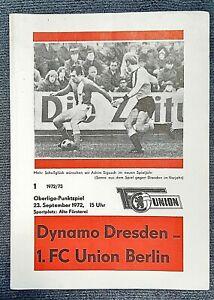Orig. Programm 72/73 1.FC Union Berlin SG Dynamo Dresden DDR Oberliga Fußball