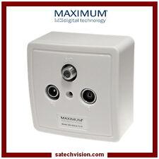 Boîte d'Arrivée SAT / TV / FM Maximum MX 600, Prise Murale Coaxiale 3 Sorties