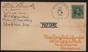 1940 Irving Sc 859 signed by designers, engravers, and DC Postmaster, to Wunder
