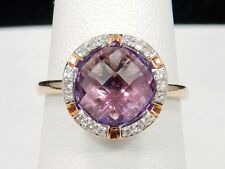 EFFY Lavender Rose Amethyst and Diamonds Ring in 14k Rose Gold, size 6.25