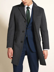 Moss Bros MENS Tailored Fit Charcoal Epsom Overcoat Wool Blend - 38, 40, 42, 44