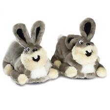 Grey plush bunny slippers adults children novelty mules character animal rabbit