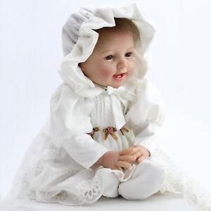 "22"" Reborn Dolls Baby Girl Newborn Realistic soft Silicone Vinyl Toys Doll+Dress"