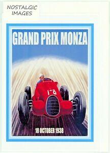 Nostalgic 1938 Monza Grand Prix greeting card. Hand made. blank inside. (3913)