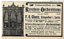 F. O. Glass Klingenthal i. Sachs. Revolver- Orchestrion Historische Reklame 1900