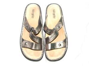 Alegria 41 10.5 Pewter Silver Venice Slide Sandals Adjustable Strap Walking Flat