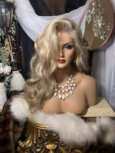 """STUNNING LT.BLONDE MIX, 30"""" FREE PART, HUMAN HAIR BLEND, LACE FRONT, Wig"""