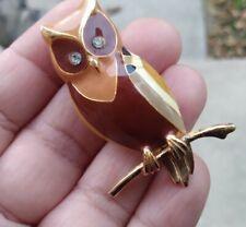 Vintage ENAMEL OWL Brooch Gold Tone 2