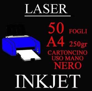 Carta Cartoncino A4 50 Fogli Nero Uso mano 250gr. Copertine Rilegatura