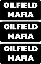 """3 - Oilfield Mafia Hard Hat, Helmet, Toolbox Stickers Decal 1"""" X 2"""" HS-5042"""