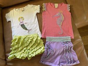 Lemon Loves Lime Girls Size 7 outfits Mermaid & Seahorse t-shirts & shorts EUC