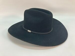 Mens Black Cowboy Hat Bradford Western by Resistol Premium Wool Size 7 1/4
