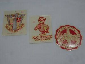 """Vintage Set of 3 NC STATE University & Wolfpack 4"""" Transfer Decals"""