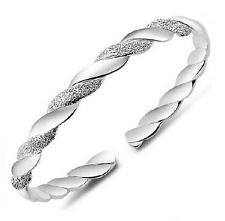 Charm Gift Chain Bracelet Bangle Silver Plated Cuff