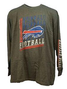 Buffalo Bills Men's NFL Majestic 2 Hit Long Sleeve Grey T Shirt Big & Tall