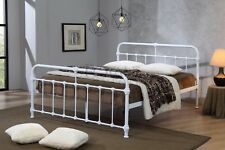 Mandy Double Metal Bed Frame White Hospital Style Small Double King Size Beds 4ft6 Double