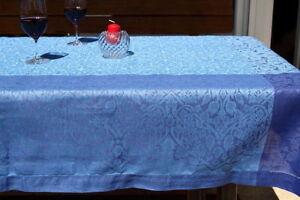 Leinentischdecke groß Jacquardmuster Blautöne
