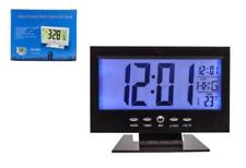 SVEGLIA OROLOGIO DIGITALE DA TAVOLO ALLARME LCD RETROILLUMINATO BLU TEMPERATURA